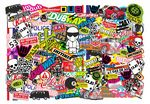 Huge 1000x700mm Size LANDSCAPE Format With Multi Colour Euro Style VW Icons Etc. Premium Quality Vinyl Car Sticker Bombing Sheet